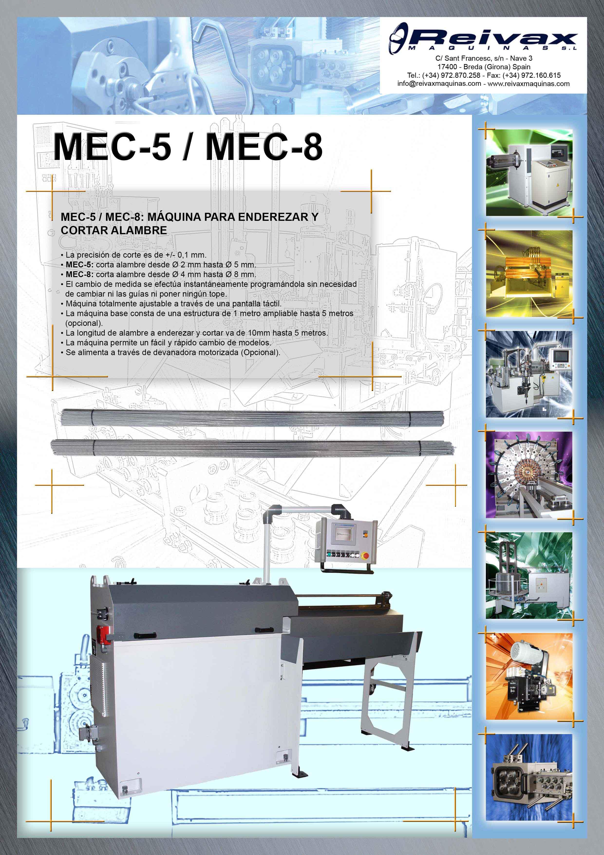 Reivax Maquinas, SL: MEC-5 / MEC-8 Ficha Técnica