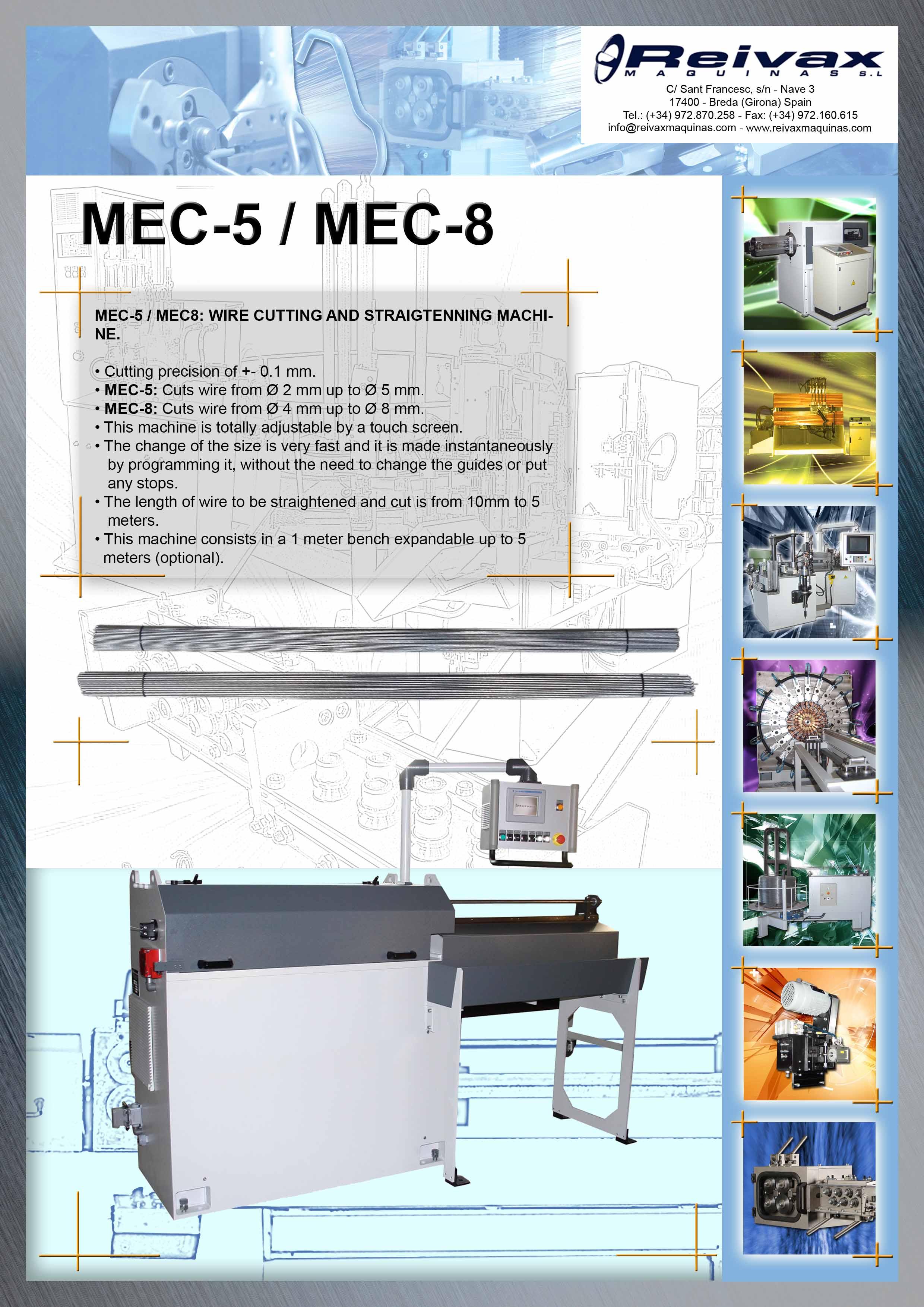 Reivax Maquinas, SL: MEC-5 / MEC-8 Technical Details