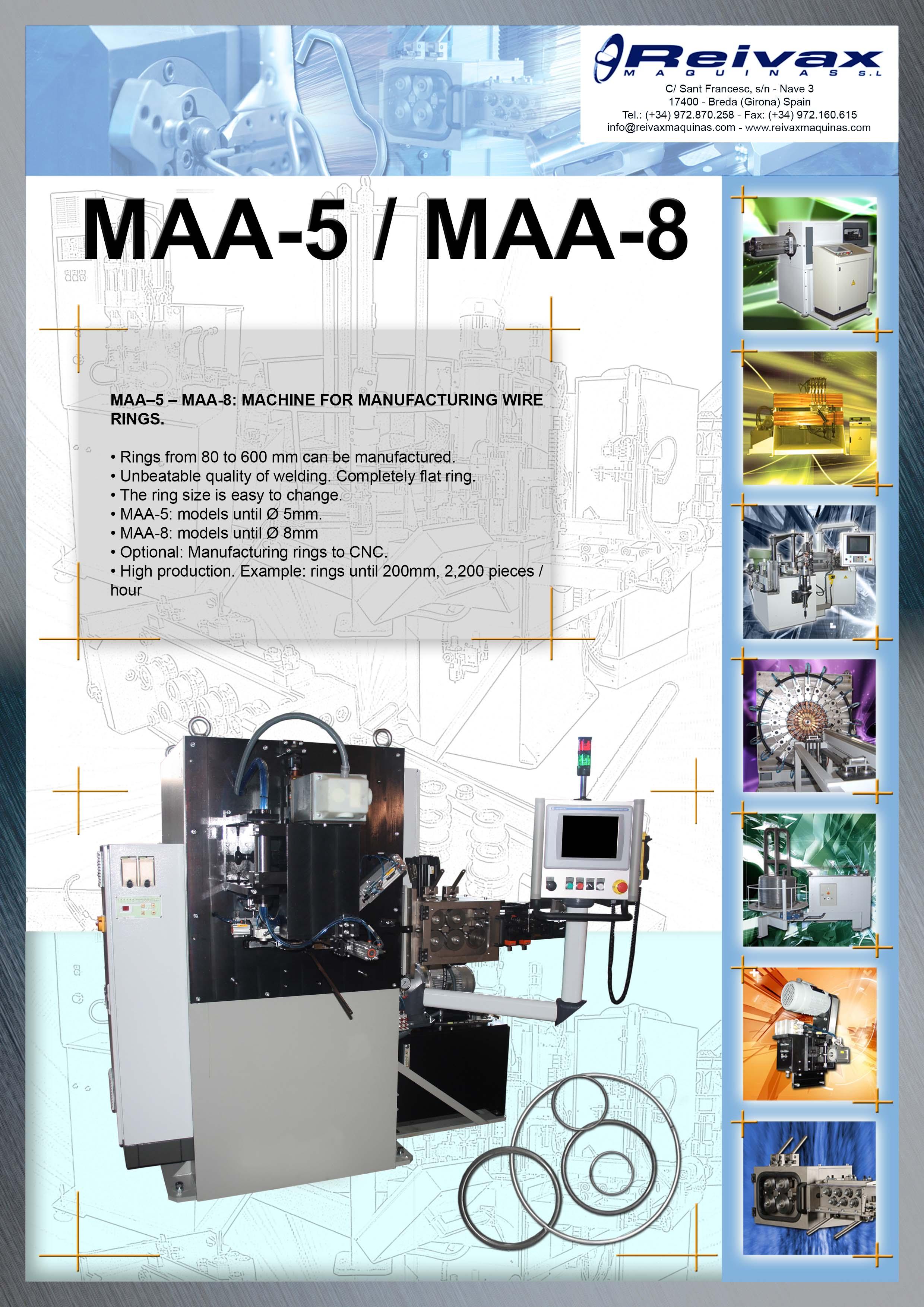 ReivaxMaquinas: Technical Details MAA-5 - MAA-8