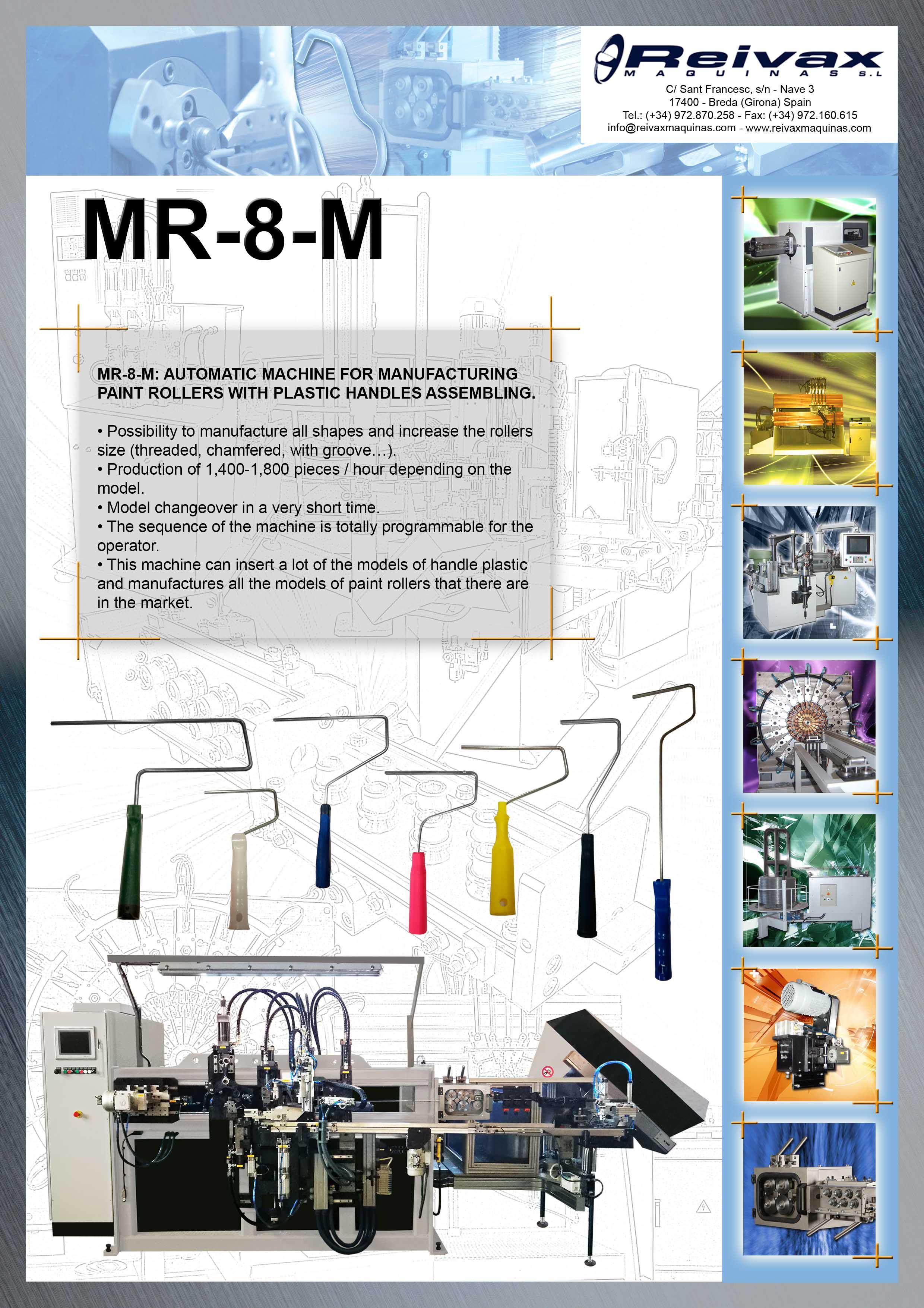 ReivaxMaquinas: Technical Details MR-8-M Paint Roller Machine