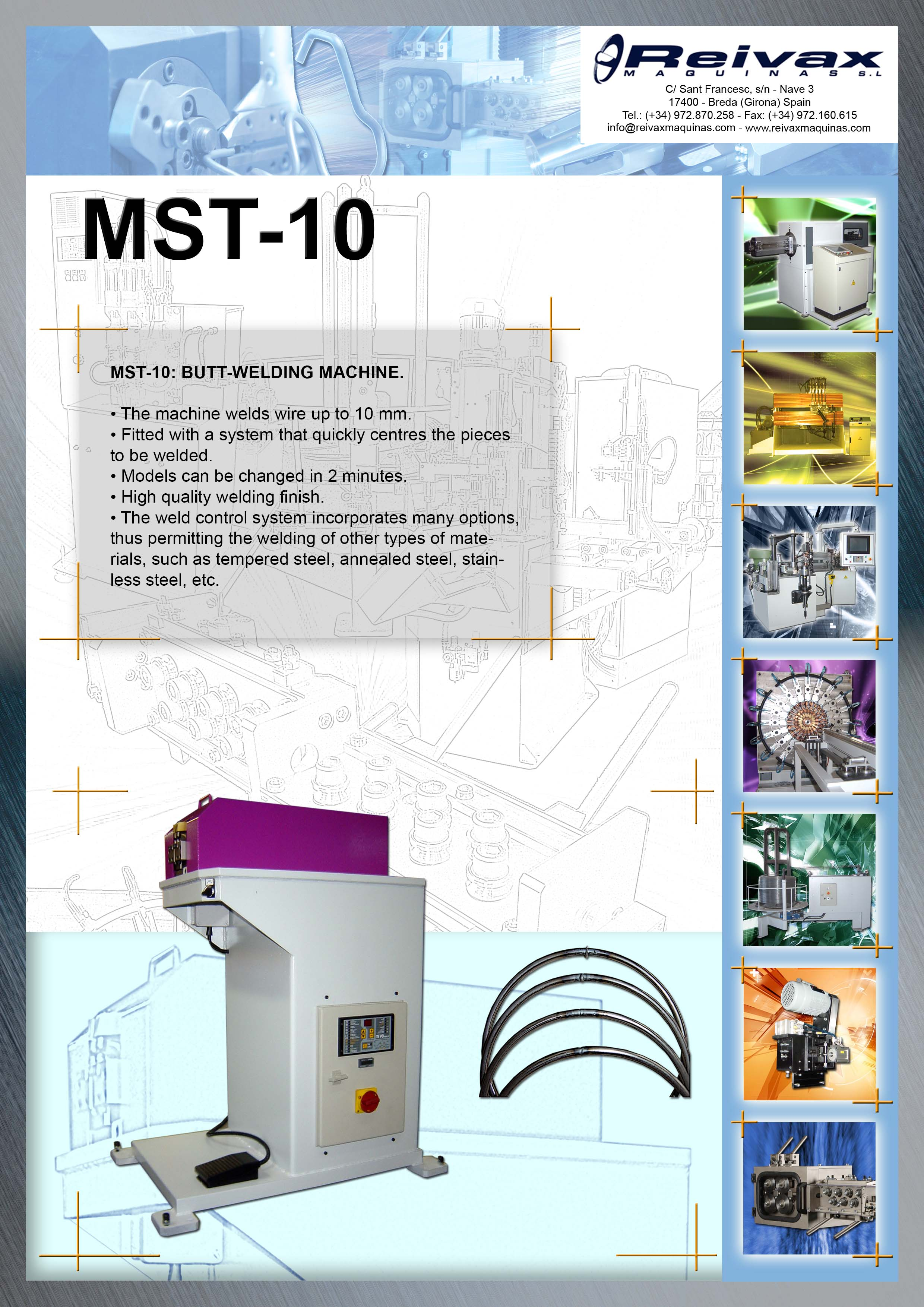 ReivaxMaquinas: Technical Data MST-10