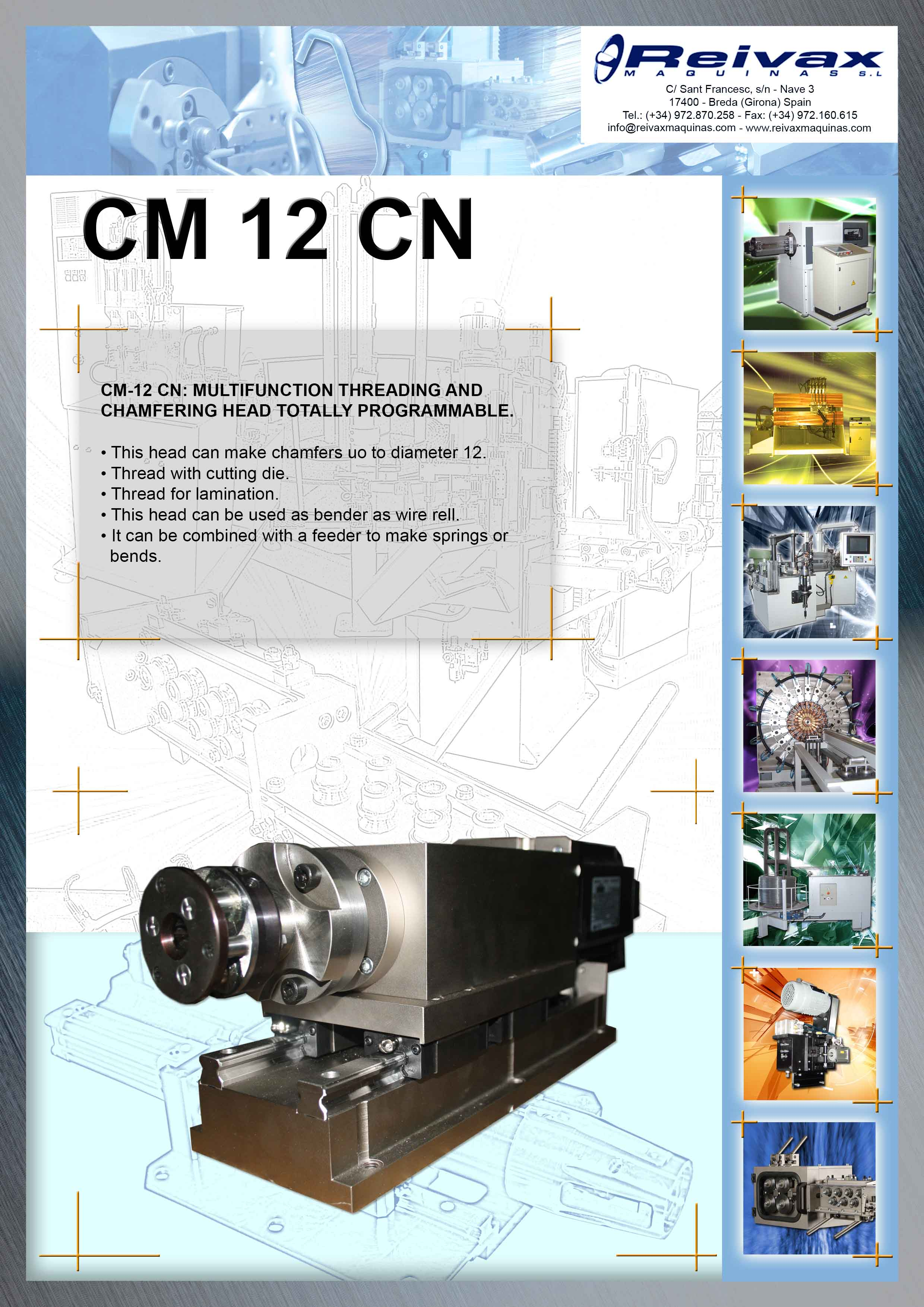 ReivaxMaquinas: Technical Details Multifunction Threading and Chamfering  Tool CM 12 CN