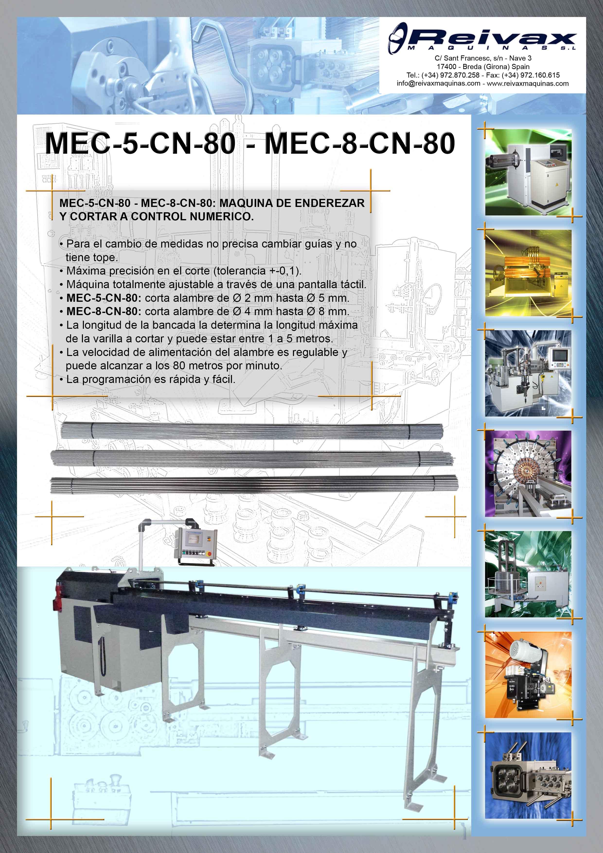 Reivax Maquinas, SL: MEC-5-CN-80 - MEC-8-CN-80 Ficha Técnica.