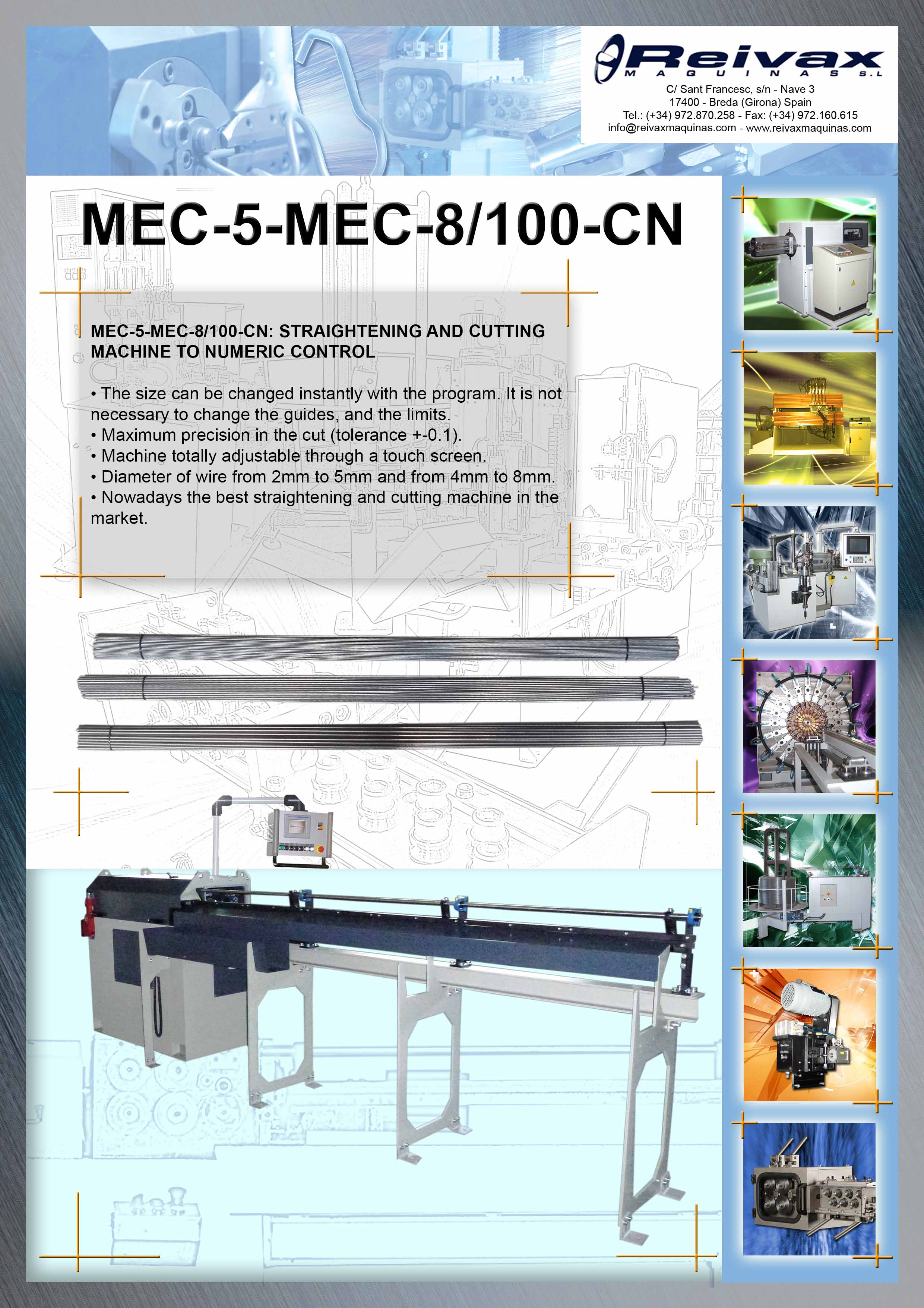 ReivaxMaquinas: Technical Details MEC-5 - MEC-8 / 100 - CN
