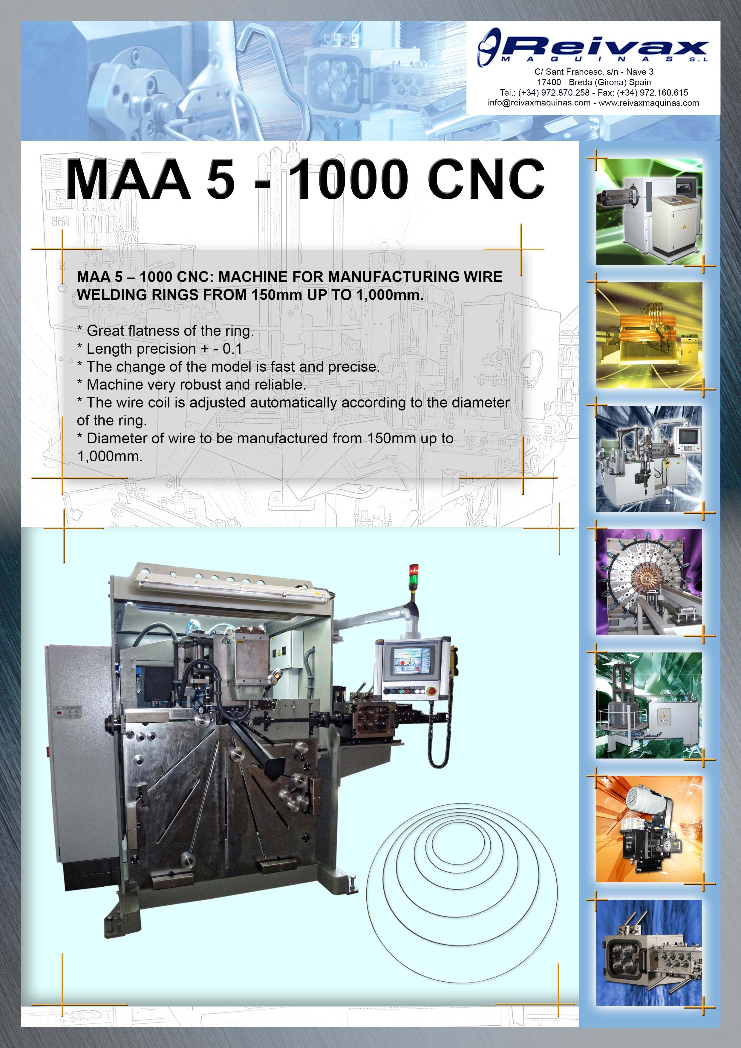 ReivaxMaquinas: Technical details MAA 5 -1000 CNC