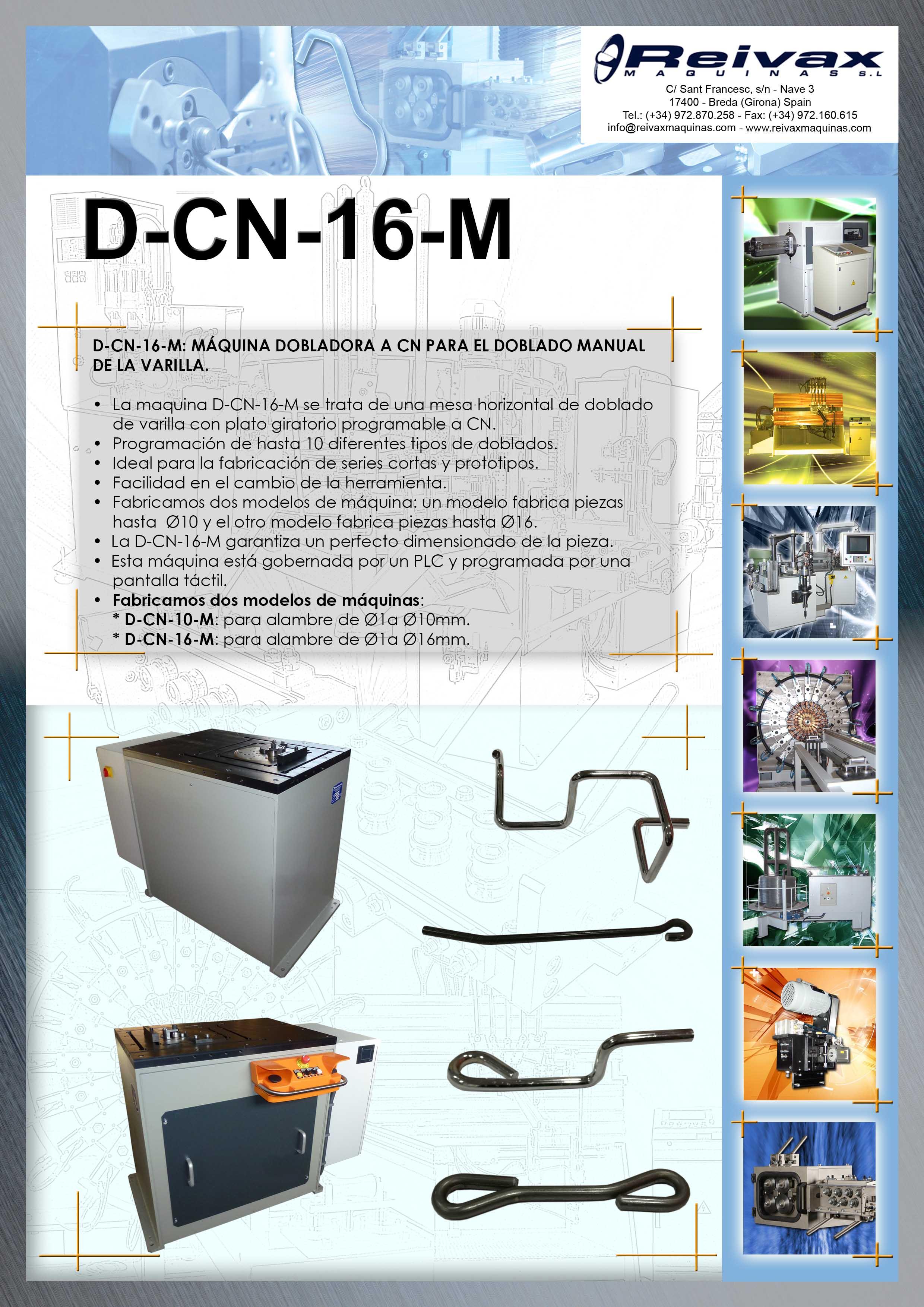 ReivaxMaquinas: Ficha Tecnica D-CN-16-M