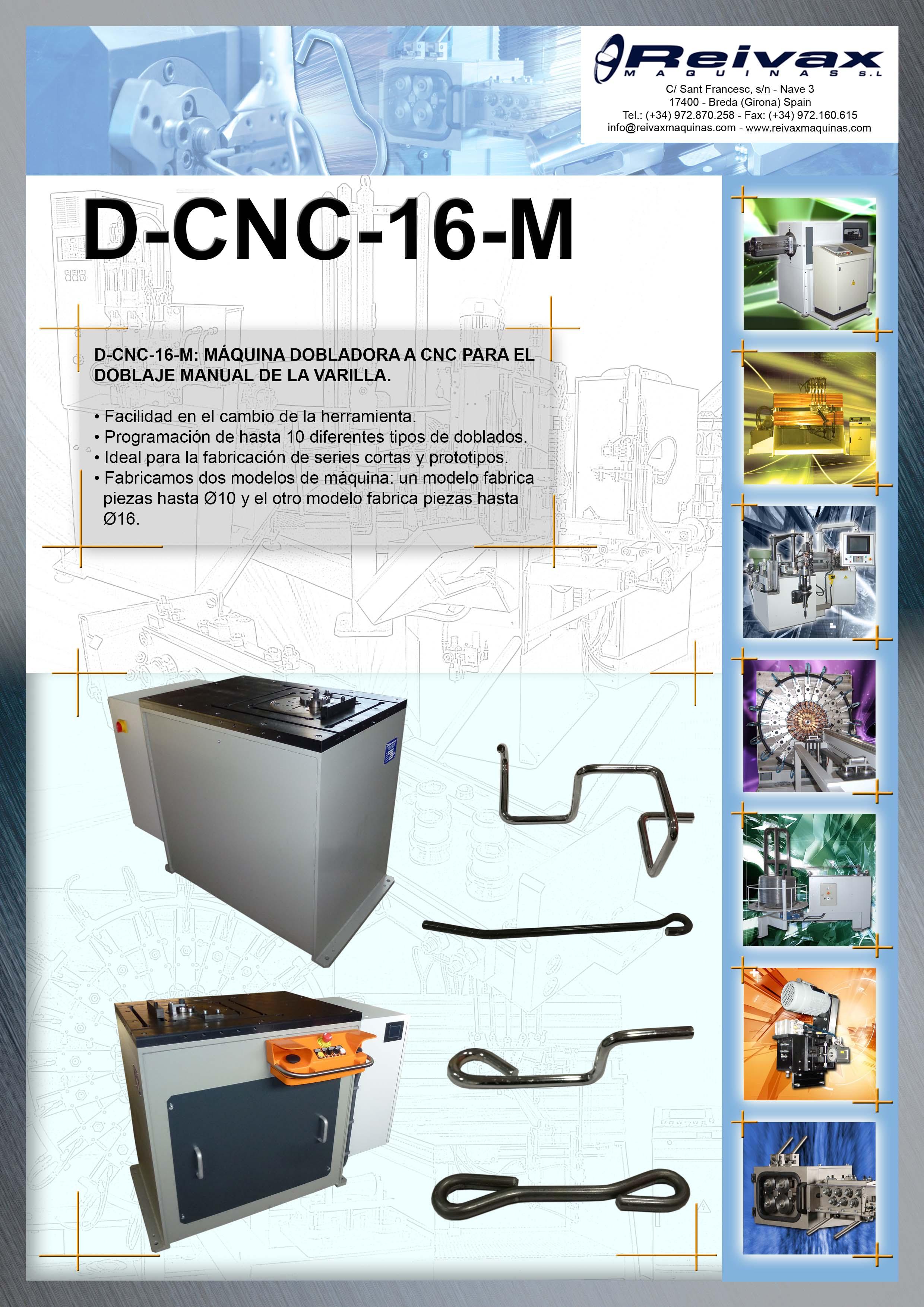ReivaxMaquinas: Ficha Tecnica D-CNC-16-M