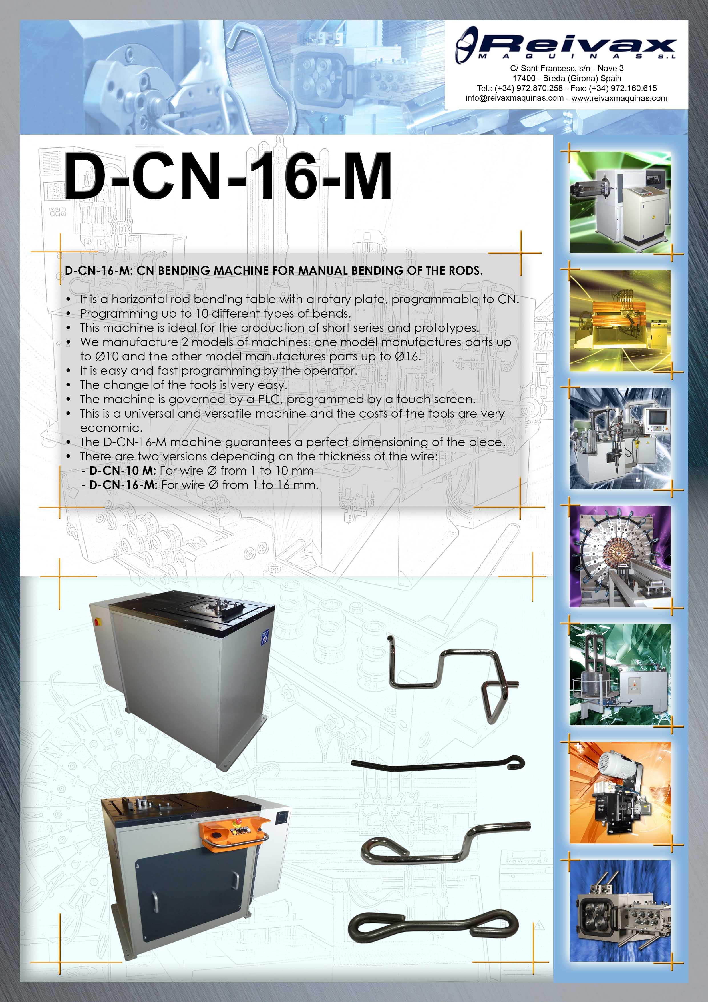 ReivaxMaquinas: Technical Details D-CN-16-M