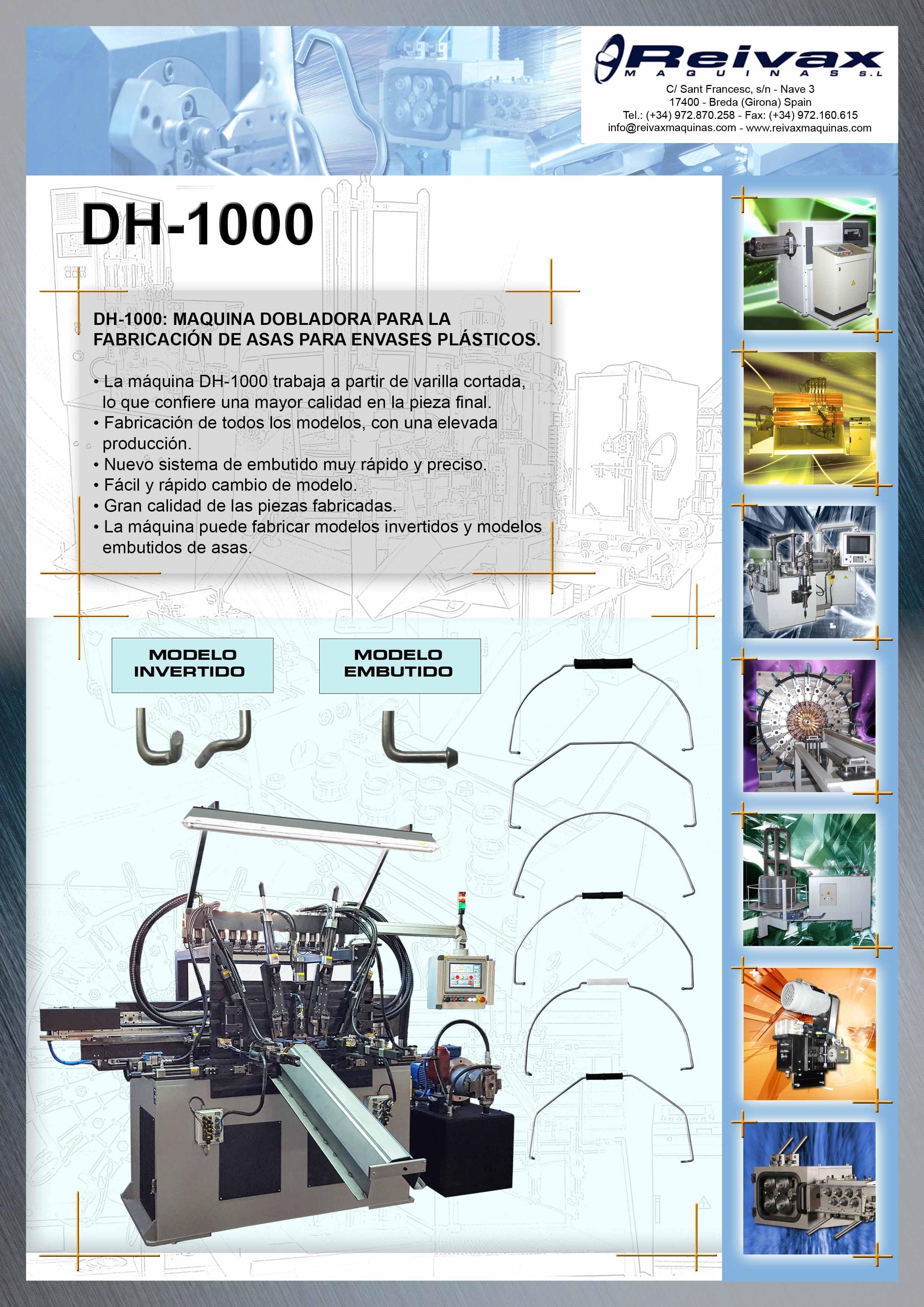 ReivaxMaquinas: Ficha Tecnica DH-1000 - Máquina para la Fabricación de Asas para Envases Plasticos