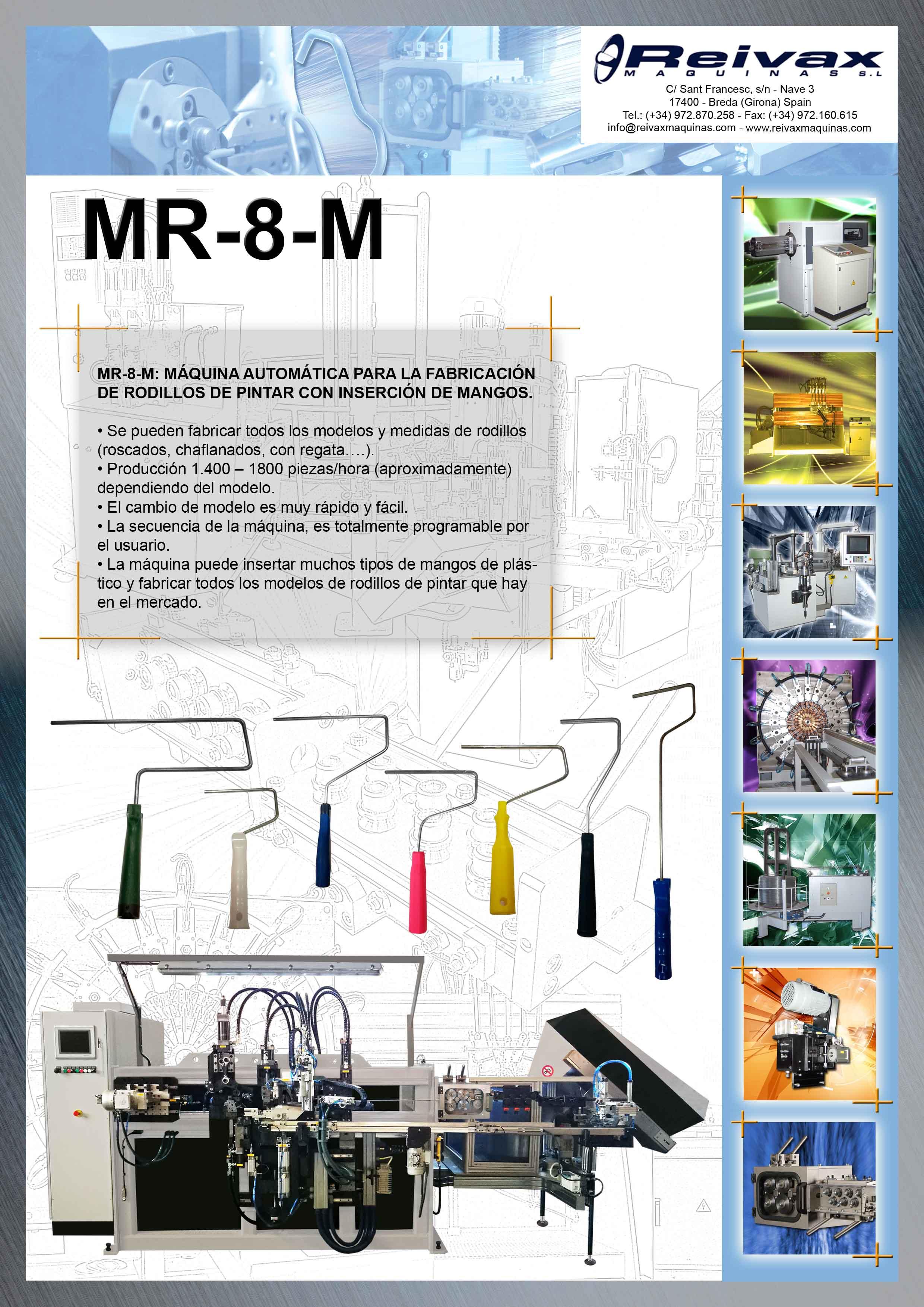 ReivaxMaquinas: Ficha Técnica MR-8-M - Maquina Rodillos de Pintar