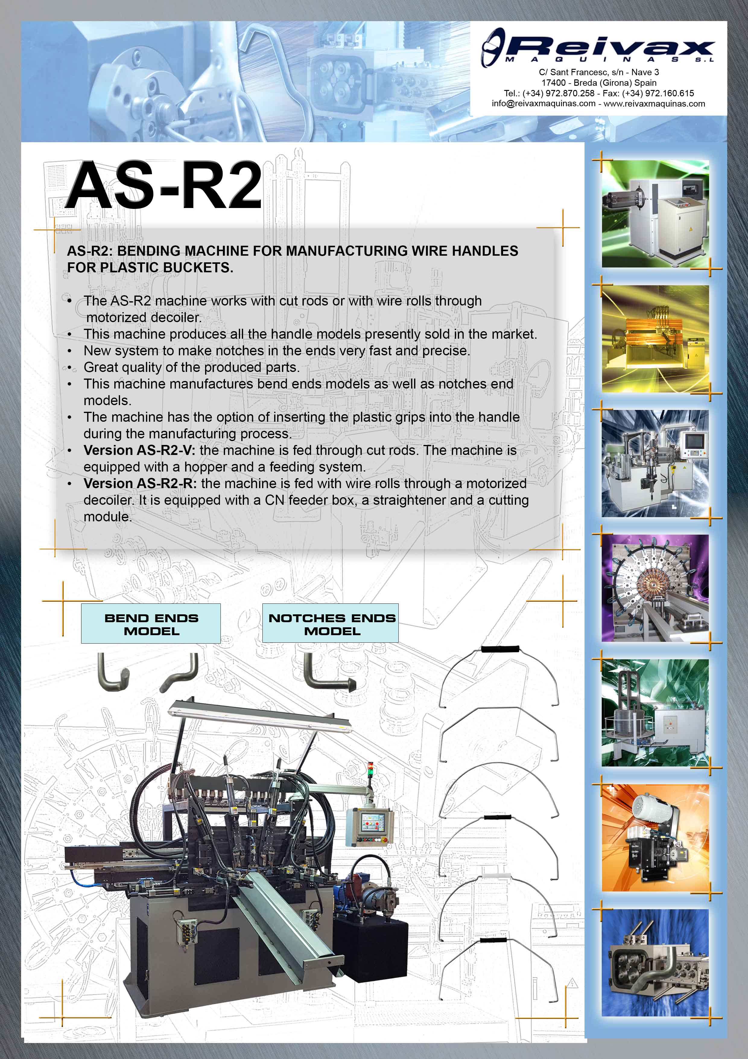 ReivaxMaquinas: Technical Details AS-R2 Machine for manufacturing wire handles for buckets.