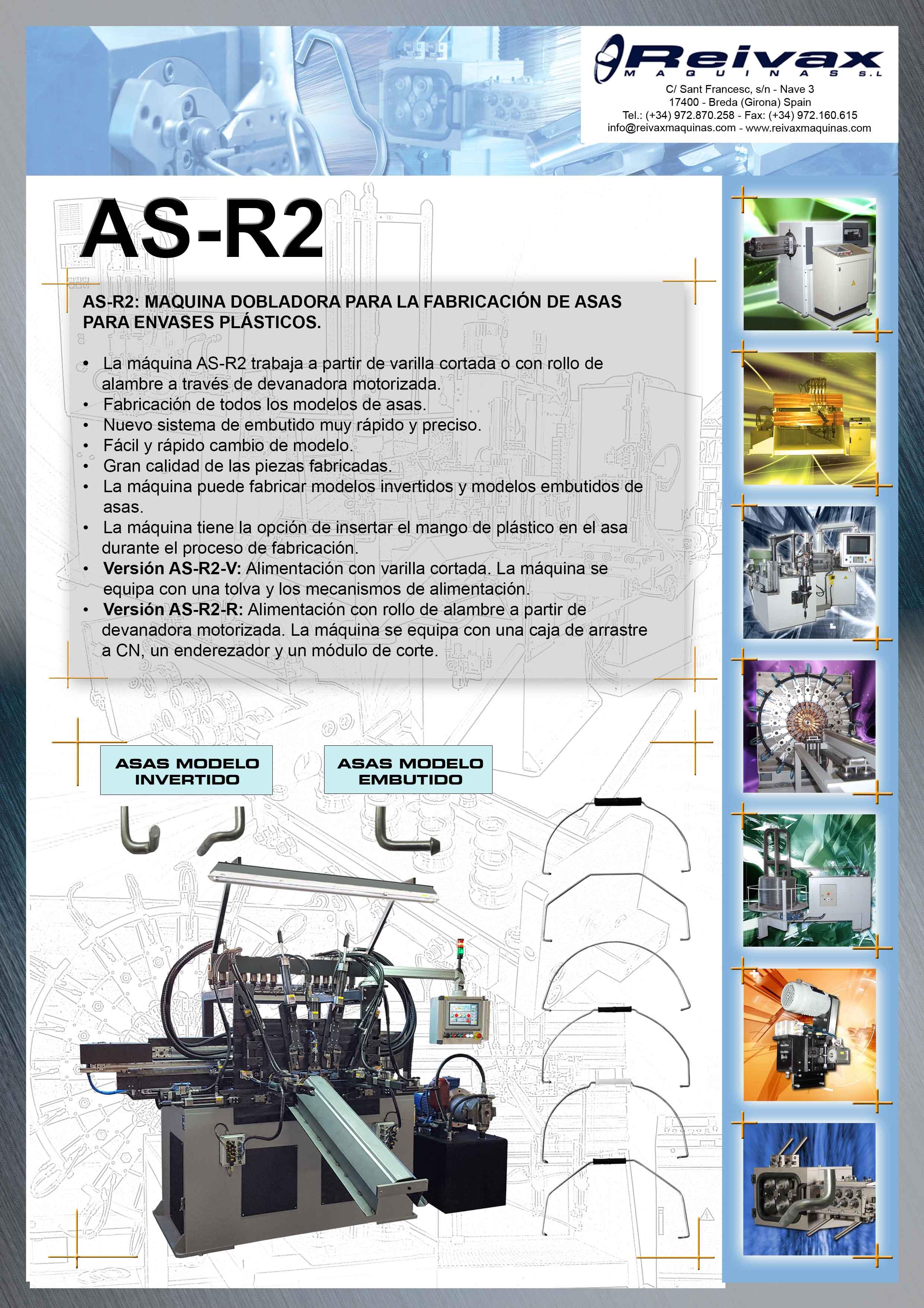 ReivaxMaquinas: Ficha Tecnica AS-R2 - Máquina para la Fabricación de Asas para Envases Plasticos.