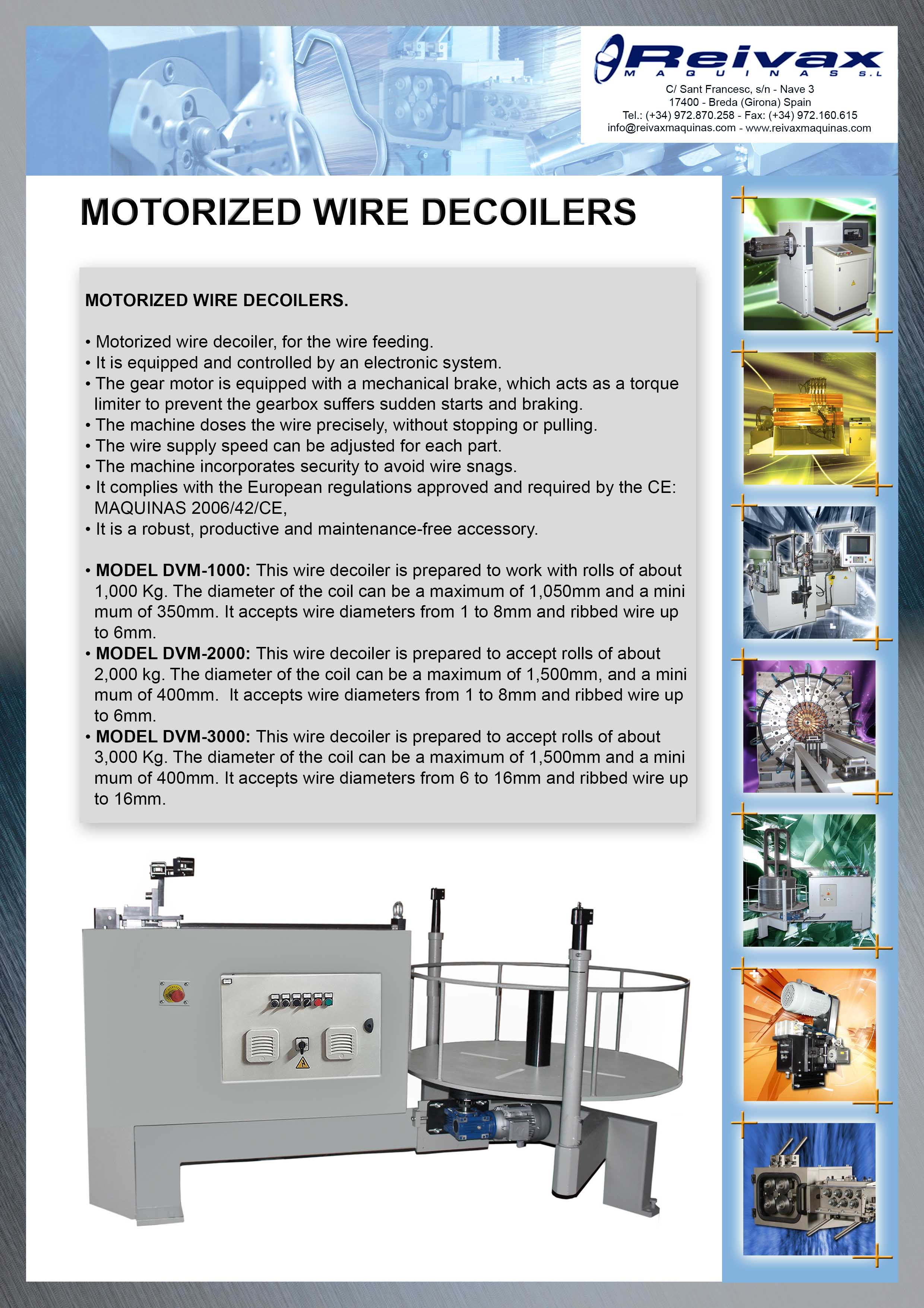 Reivax Maquinas, SL - Technical Details Motorized Wire Decoilers