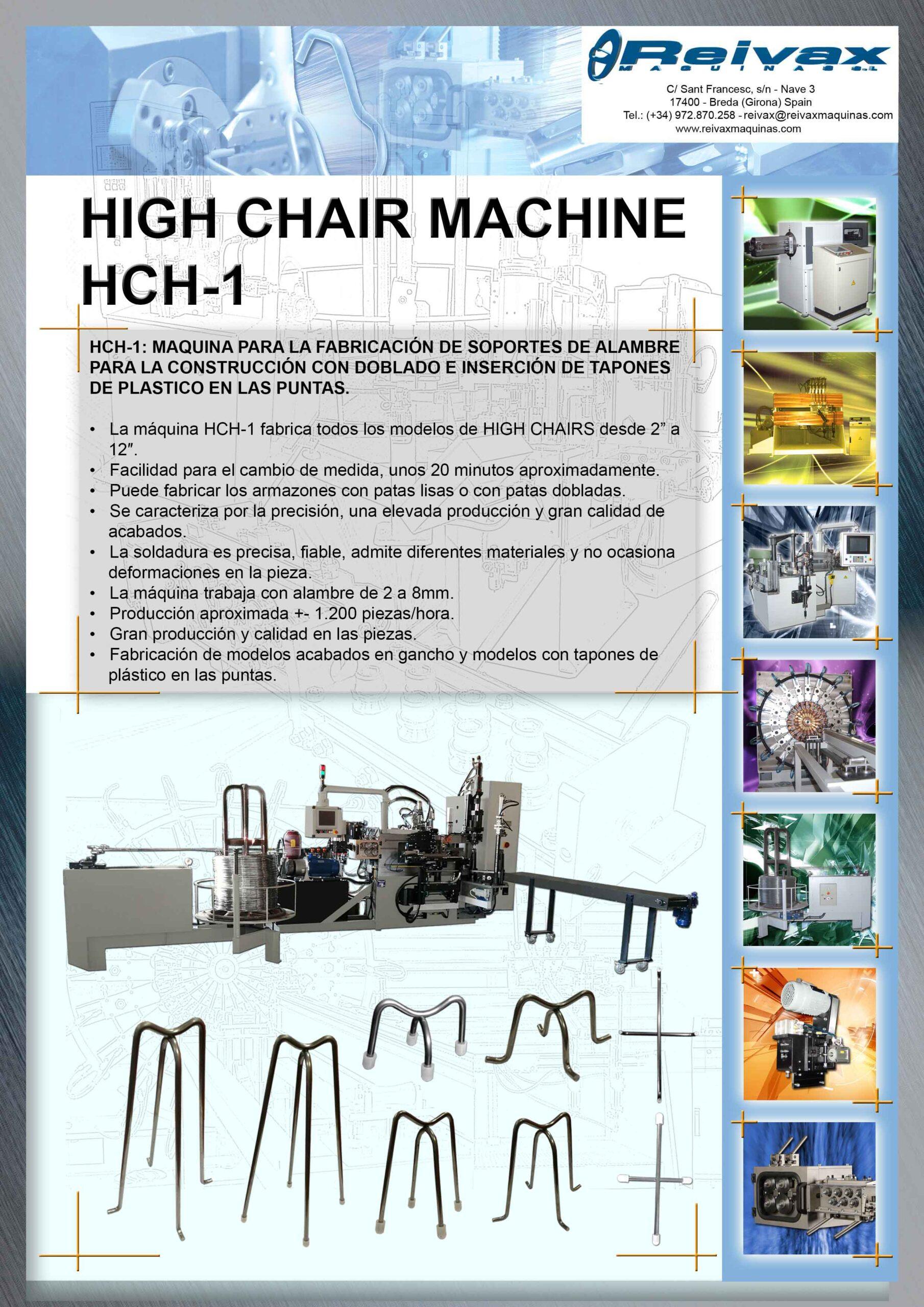 Reivax Maquinas, SL: Máquina para la fabricación de HIGH CHAIRS - Ref.: HCH-1