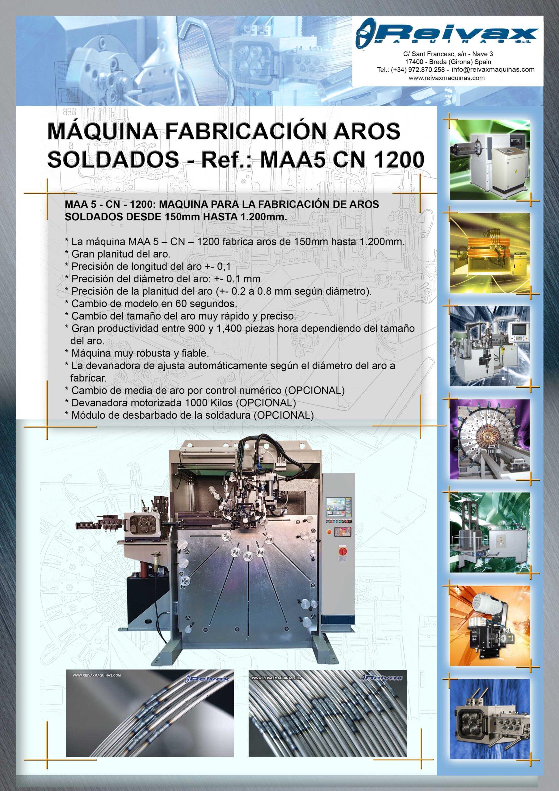 Reivax Maquinas, SL: Máquina para la fabricación de aros soldados - Ref.: MAA5 CN 1200