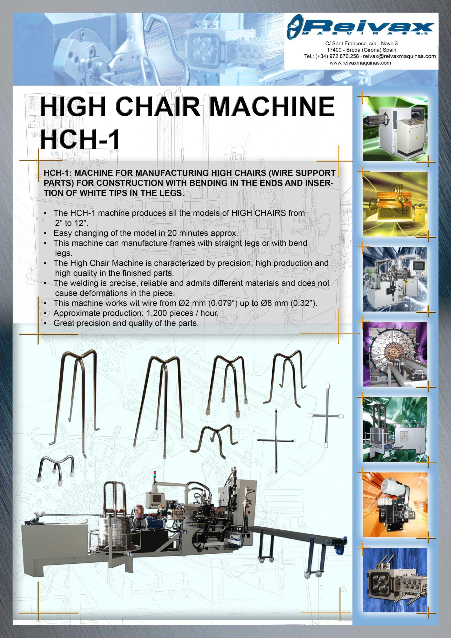 Reivax Maquinas, S.L: HIGH CHAIR Machine - Ref.: HCH-1