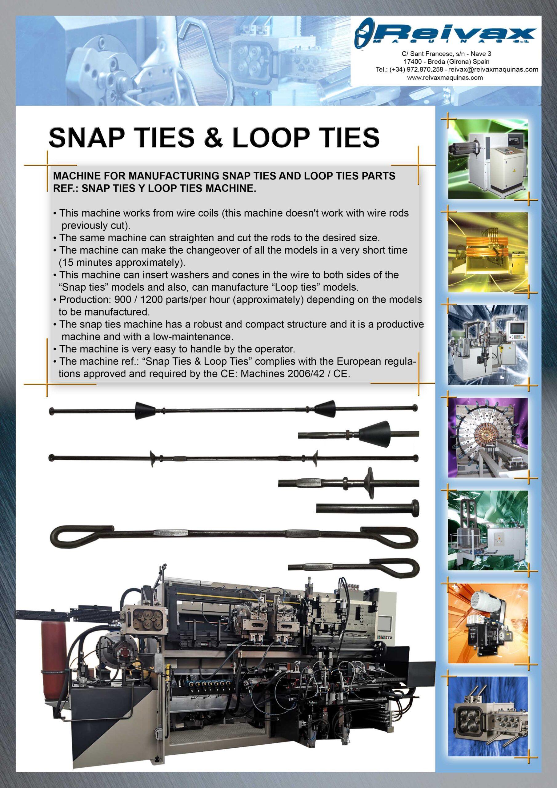 Reivax Maquinas, SL: Snap Ties and Loop Ties Machine Techical Data
